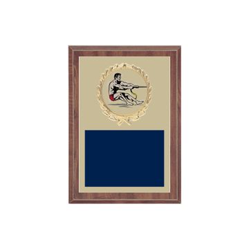 "5"" x 7"" Tug-of-War Plaque with gold background plate, colored engraving plate, gold wreath medallion and Tug-of-War insert."