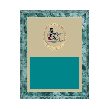 "7"" x 9"" Tug-of-War Plaque with gold background plate, colored engraving plate, gold wreath medallion and Tug-of-War insert."