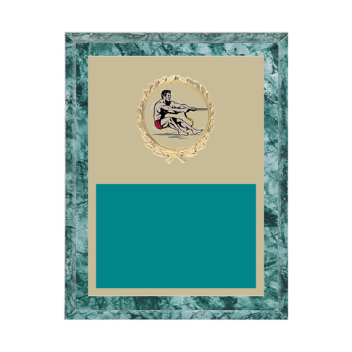 """7"""" x 9"""" Tug-of-War Plaque with gold background plate, colored engraving plate, gold wreath medallion and Tug-of-War insert."""
