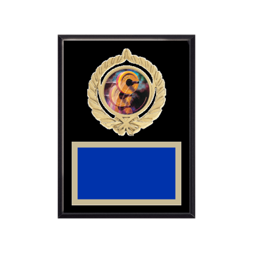 """6"""" x 8"""" Weightlifting Plaque with gold background plate, colored engraving plate, gold open wreath medallion holder and Weightlifting insert."""