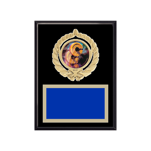 "6"" x 8"" Weightlifting Plaque with gold background plate, colored engraving plate, gold open wreath medallion holder and Weightlifting insert."