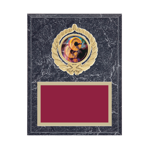 """7"""" x 9"""" Weightlifting Plaque with gold background plate, colored engraving plate, gold open wreath medallion holder and Weightlifting insert."""
