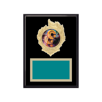 """6"""" x 8"""" Weightlifting Plaque with gold background, colored engraving plate, gold flame medallion holder and Weightlifting insert."""