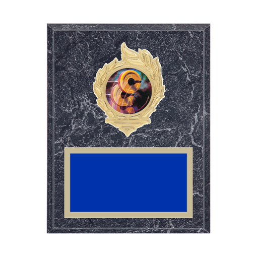 "7"" x 9"" Weightlifting Plaque with gold background, colored engraving plate, gold flame medallion holder and Weightlifting insert."