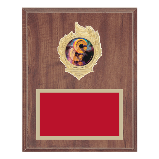 "8"" x 10"" Weightlifting Plaque with gold background, colored engraving plate, gold flame medallion holder and Weightlifting insert."