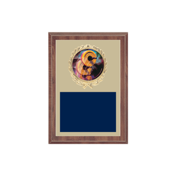 """5"""" x 7"""" Weightlifting Plaque with gold background plate, colored engraving plate, gold wreath medallion and Weightlifting insert."""