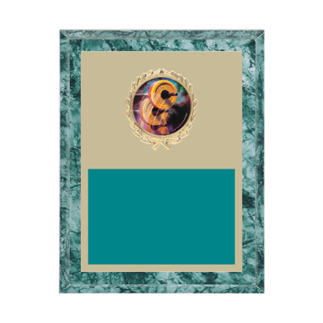 """7"""" x 9"""" Weightlifting Plaque with gold background plate, colored engraving plate, gold wreath medallion and Weightlifting insert."""