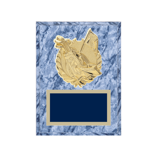 """6"""" x 8"""" Golf Plaque with gold background plate, colored engraving plate and gold 3D Golf medallion."""