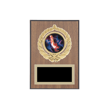 "5"" x 7"" Gymnastics Plaque with gold background plate, colored engraving plate, gold open wreath medallion holder and Gymnastics insert."