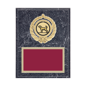 """7"""" x 9"""" Dog Plaque with gold background plate, colored engraving plate, gold open wreath medallion holder and Dog insert."""