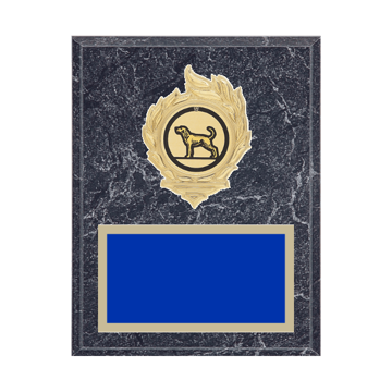 """7"""" x 9"""" Dog Plaque with gold background, colored engraving plate, gold flame medallion holder and Dog insert."""