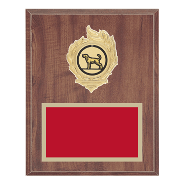 "8"" x 10"" Dog Plaque with gold background, colored engraving plate, gold flame medallion holder and Dog insert."