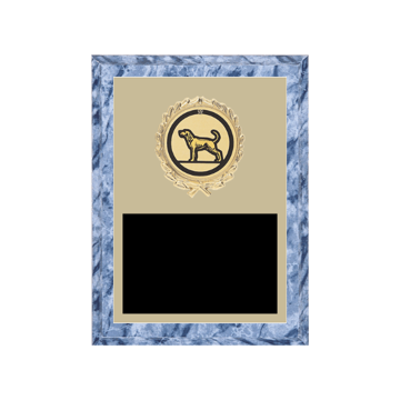 """6"""" x 8"""" Dog Plaque with gold background plate, colored engraving plate, gold wreath medallion and Dog insert."""
