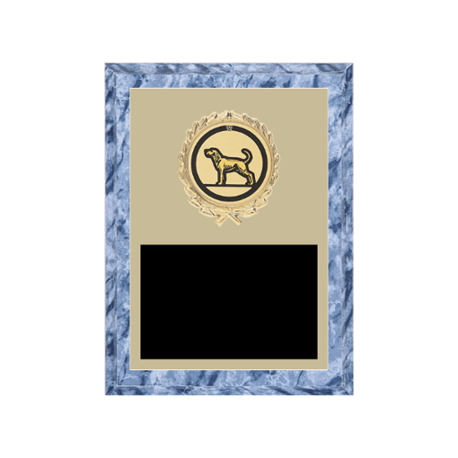 "6"" x 8"" Dog Plaque with gold background plate, colored engraving plate, gold wreath medallion and Dog insert."