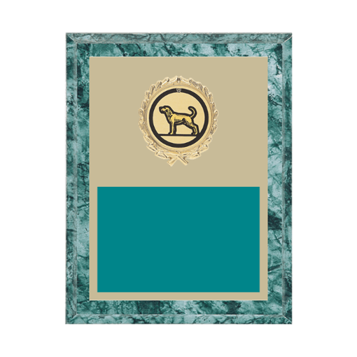 """7"""" x 9"""" Dog Plaque with gold background plate, colored engraving plate, gold wreath medallion and Dog insert."""
