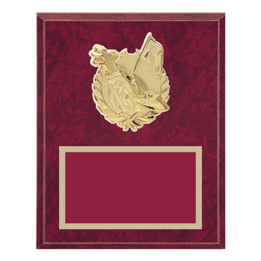 """8"""" x 10"""" Golf Plaque with gold background plate, colored engraving plate and gold 3D Golf medallion."""