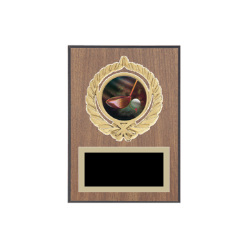 "5"" x 7"" Golf Plaque with gold background plate, colored engraving plate, gold open wreath medallion holder and Golf insert."