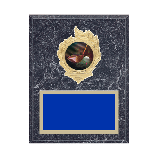 "7"" x 9"" Golf Plaque with gold background, colored engraving plate, gold flame medallion holder and Golf insert."