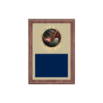 "5"" x 7"" Golf Plaque with gold background plate, colored engraving plate, gold wreath medallion and Golf insert."