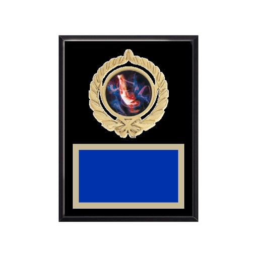 """6"""" x 8"""" Gymnastics Plaque with gold background plate, colored engraving plate, gold open wreath medallion holder and Gymnastics insert."""