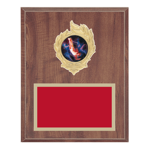 "8"" x 10"" Gymnastics Plaque with gold background, colored engraving plate, gold flame medallion holder and Gymnastics insert."