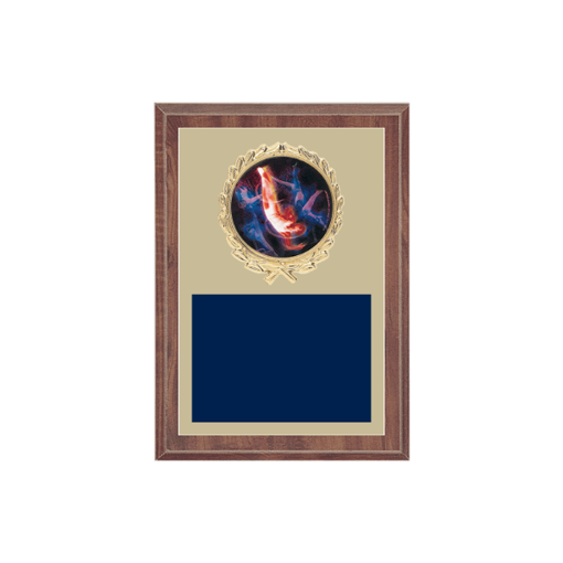 """5"""" x 7"""" Gymnastics Plaque with gold background plate, colored engraving plate, gold wreath medallion and Gymnastics insert."""