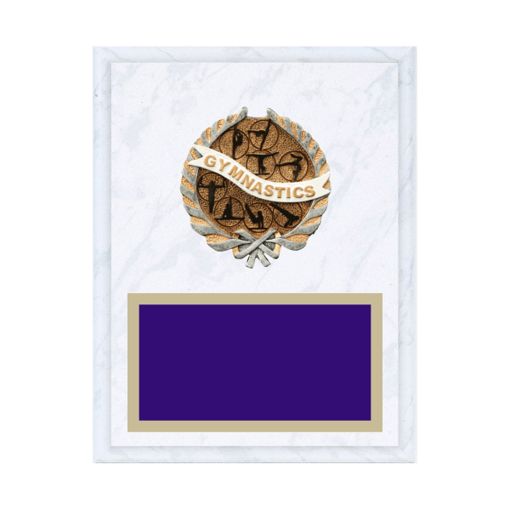 """7"""" x 9"""" Gymnastics Plaque with gold background plate, colored engraving plate and full color 3D resin Gymnastics medallion."""