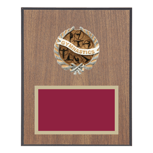"8"" x 10"" Gymnastics Plaque with gold background plate, colored engraving plate and full color 3D resin Gymnastics medallion."