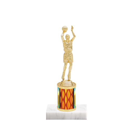 "7"" Basketball Trophy with Basketball Figurine, 2"" colored column and marble base."