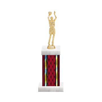 "12"" Basketball Trophy with Basketball Figurine, 5"" colored column and marble base."