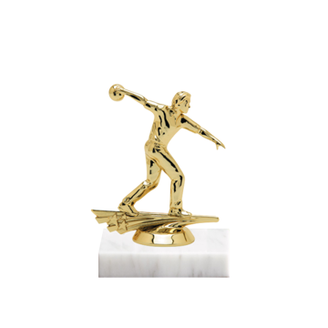 """5"""" Bowling Figure on Marble Base Trophy"""