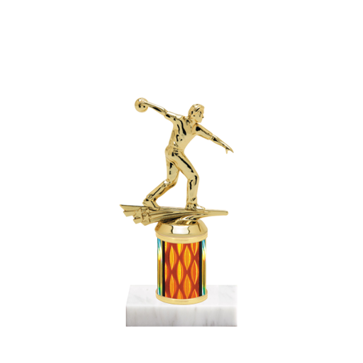 """7"""" Bowling Trophy with Bowling Figurine, 2"""" colored column and marble base."""