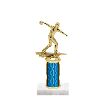"""8"""" Bowling Trophy with Bowling Figurine, 3"""" colored column and marble base."""