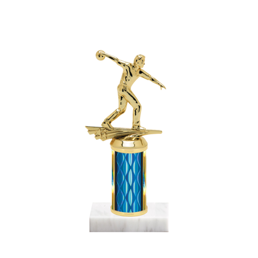 "8"" Bowling Trophy with Bowling Figurine, 3"" colored column and marble base."