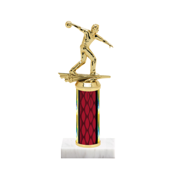"""9"""" Bowling Trophy with Bowling Figurine, 4"""" colored column and marble base."""
