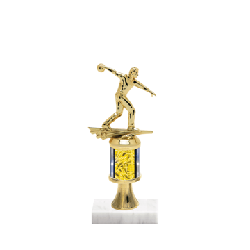 """10"""" Bowling Trophy with Bowling Figurine, 2"""" colored column, gold riser and marble base."""