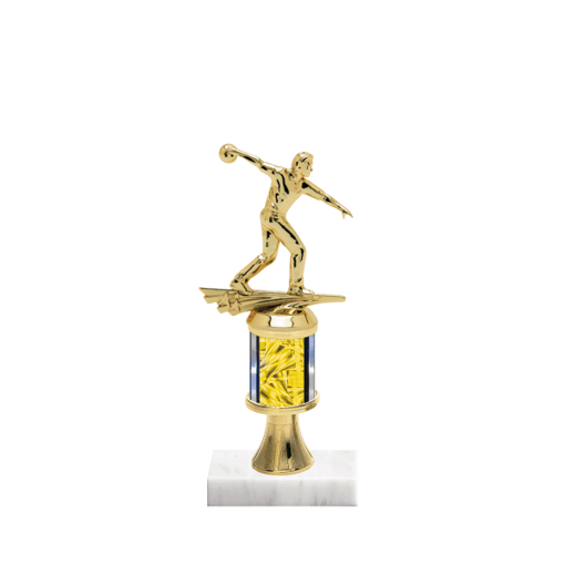 "10"" Bowling Trophy with Bowling Figurine, 2"" colored column, gold riser and marble base."