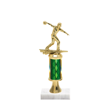 """11"""" Bowling Trophy with Bowling Figurine, 3"""" colored column, gold riser and marble base."""
