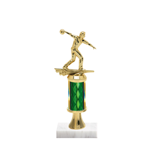 "11"" Bowling Trophy with Bowling Figurine, 3"" colored column, gold riser and marble base."