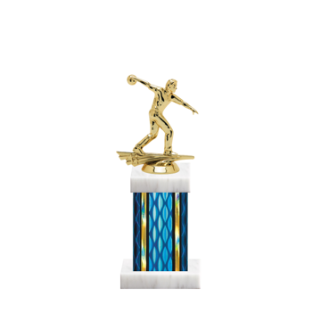 """11"""" Bowling Trophy with Bowling Figurine, 4"""" colored column and marble base."""
