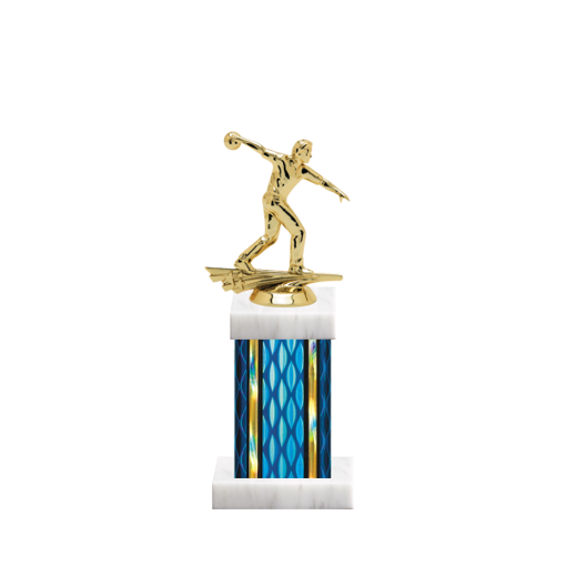 "11"" Bowling Trophy with Bowling Figurine, 4"" colored column and marble base."