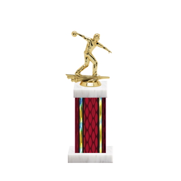 """12"""" Bowling Trophy with Bowling Figurine, 5"""" colored column and marble base."""