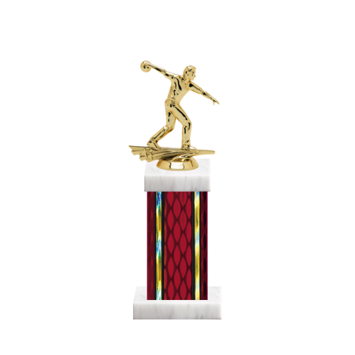 "12"" Bowling Trophy with Bowling Figurine, 5"" colored column and marble base."
