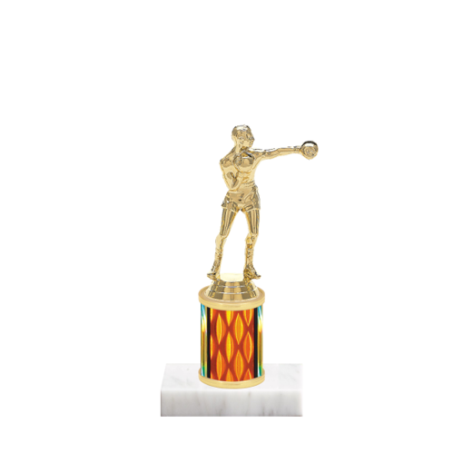 """7"""" Boxing Trophy with Boxing Figurine, 2"""" colored column and marble base."""