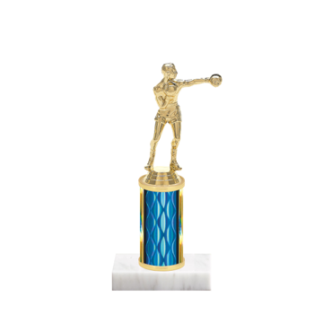 "8"" Boxing Trophy with Boxing Figurine, 3"" colored column and marble base."