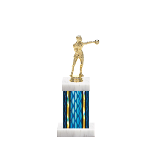 """11"""" Boxing Trophy with Boxing Figurine, 4"""" colored column and marble base."""