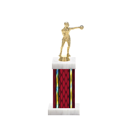 "12"" Boxing Trophy with Boxing Figurine, 5"" colored column and marble base."