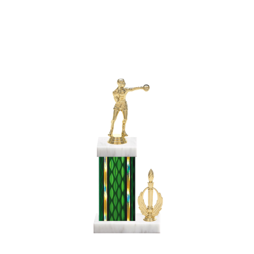 "13"" Boxing Trophy with Boxing Figurine, 5"" colored column, side trim and marble base."