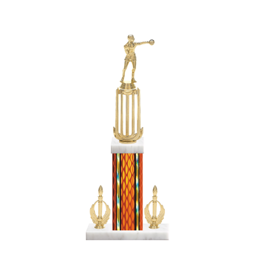 "18"" Boxing Trophy with Boxing Figurine, 7"" colored column, double side trim and marble base."