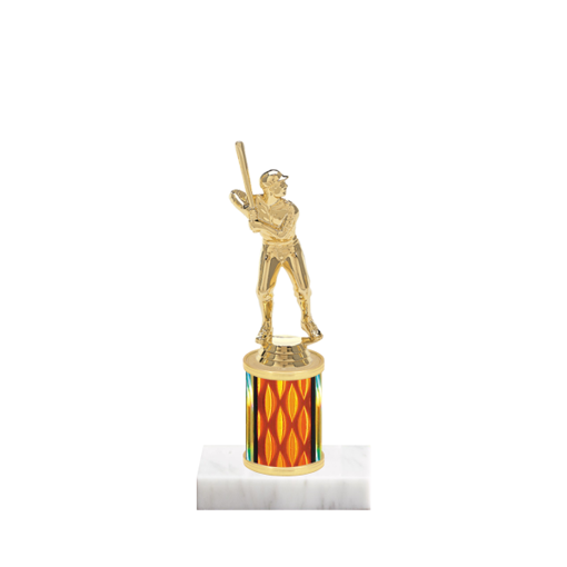 "7"" Baseball Trophy with Baseball Figurine, 2"" colored column and marble base."